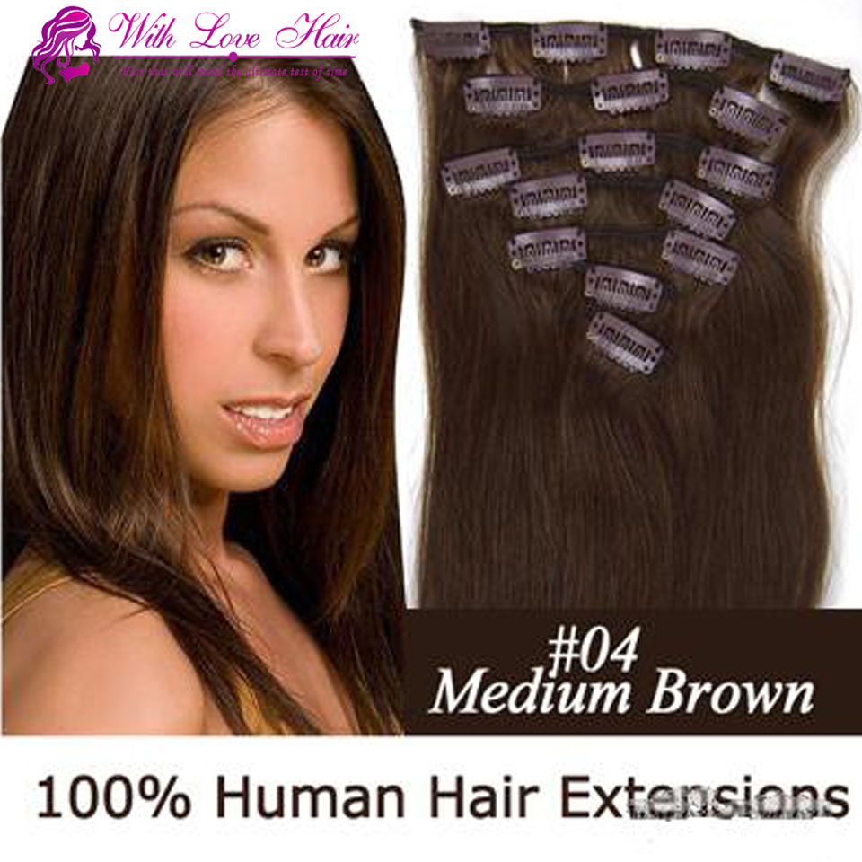 Color 4 chocolate  brown clip in Brazilian remy human hair straight 16-22inch 7pcs set clip in hair extensions<br><br>Aliexpress