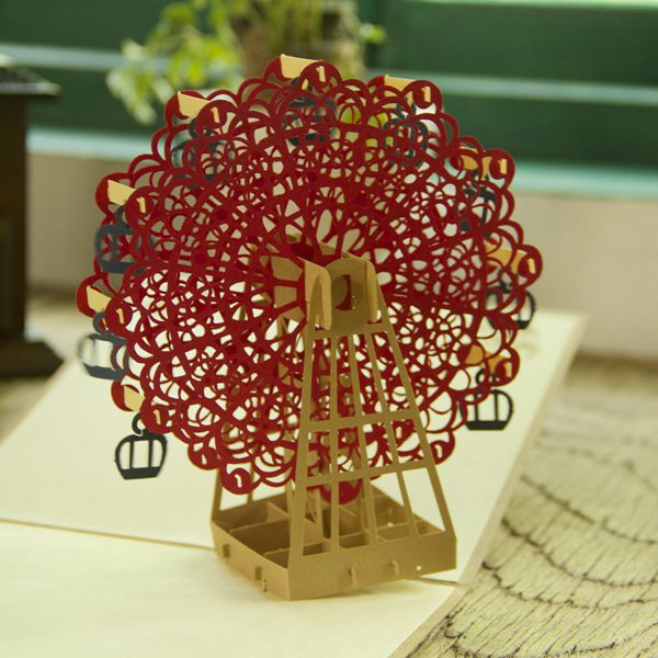 Vintage Happy Birthday Sky Wheel Handmade Creative Kirigami &amp; Origami 3D Pop UP Greeting &amp; Gift Cards Free Shipping (set of 10)<br><br>Aliexpress