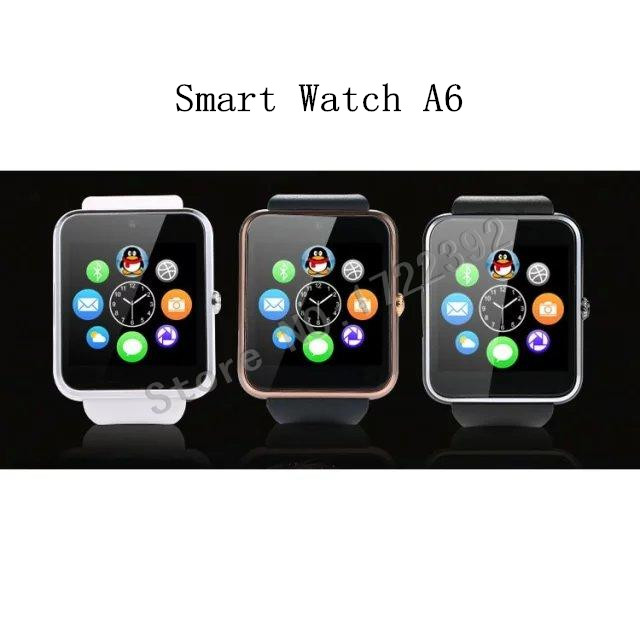 2015 New fashion Bluetooth Smart watch A6 Support SIM SMS NFC TF MP3 MP4 AVI for Xiaomi Huawei MEIZU LG Android 3Color