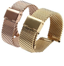 18mm 20mm 22mm Gold Rose gold  Stainless Steel Shark Mesh Milanese Watch Band With Push Button Deployment Buckle Clasp