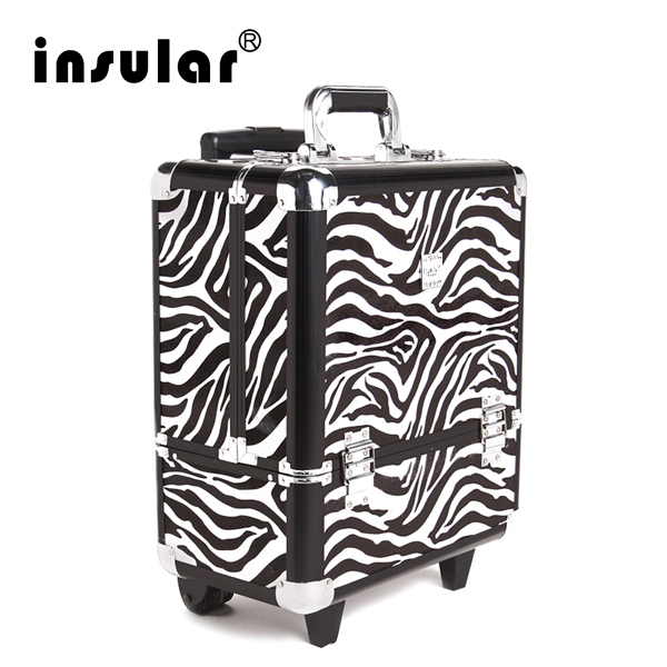 Free Shipping Professional Aluminum Makeup Trolley Case With Prminum PU Leather Aluminum Cosmetic Case(China (Mainland))