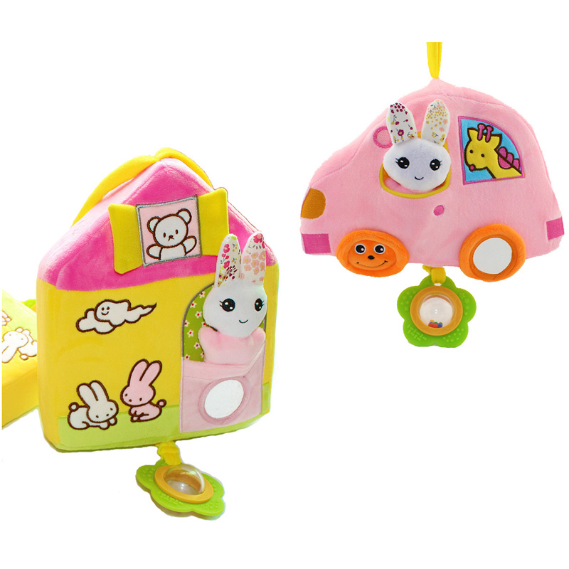 27cm musical soft Baby Toys stuff stroller bed rattles house car Ring Bell Cute Cartoon Animal Plush creative Doll gift toys(China (Mainland))