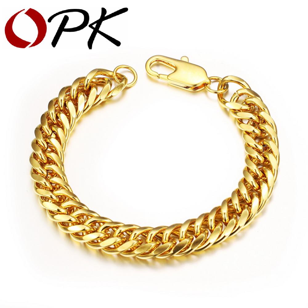 Aliexpress.com : Buy OPK Vintage Man Bracelets 18K Real ...