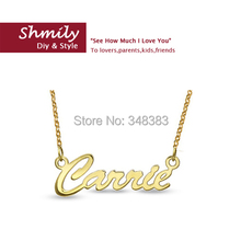 factory sale free shipping gold colored silver jewelry script name necklace ladies handmade letter necklace personalized gift(China (Mainland))