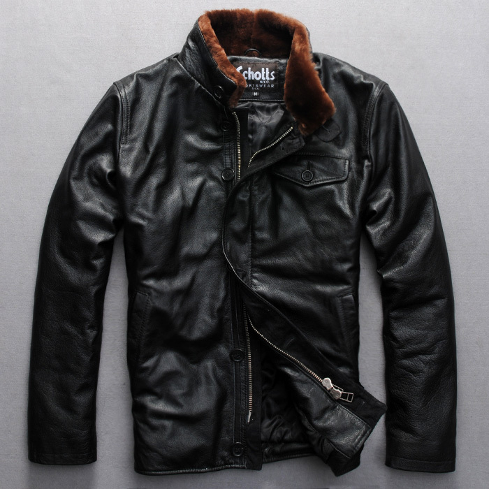 2015 new fashion wool collar leather flight suit Mens cattle leather mens jackets and coats T980Одежда и ак�е��уары<br><br><br>Aliexpress