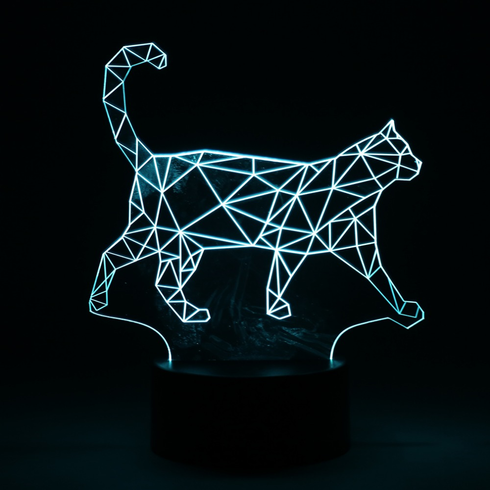 2016 new hot 3D Walking Cat Changable Color LED Nightlight Pmma Illusion Lamp Touch Button table night light for hon decor lamp(China (Mainland))