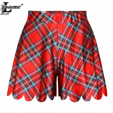 New 2016 Fashion Women Mujer Jupe Summer Shorts Skirts Interest Popular Sexy Casual 3D Print Red Tartan Grid Shorties F531