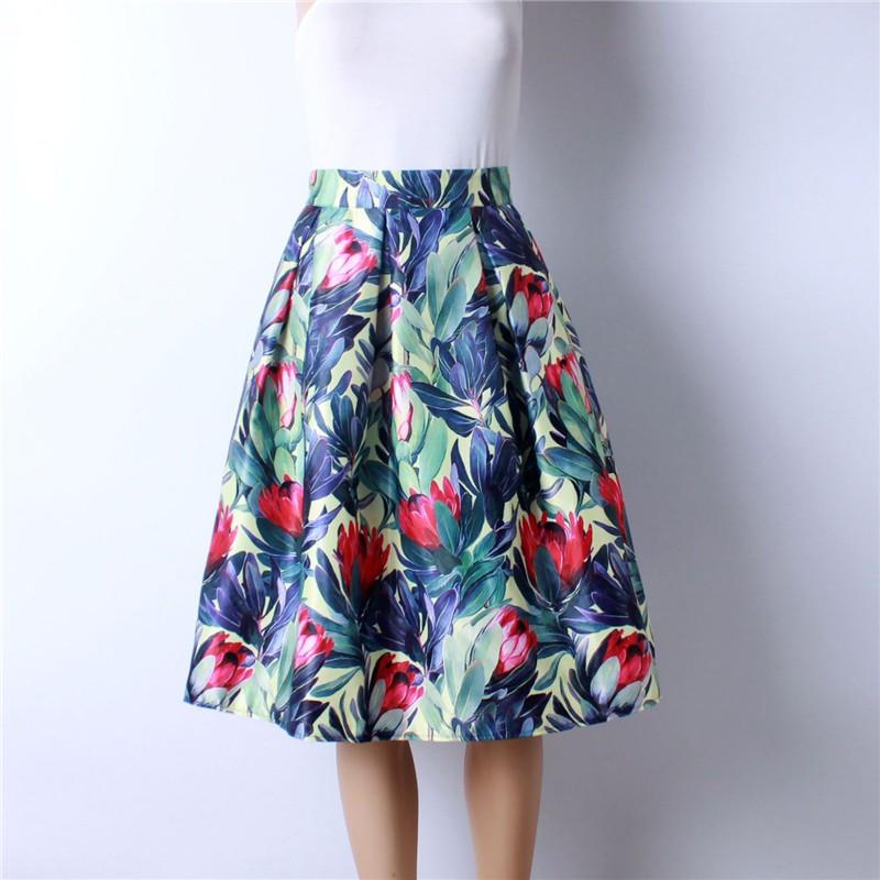 HTB1cXaIMpXXXXc2XpXXq6xXFXXXr - GOKIC 2017 Summer Women Vintage Retro Satin Floral Pleated Skirts Audrey Hepburn Style High Waist A-Line tutu Midi Skirt