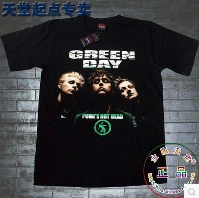 Free shipping T-shirt O-neck Black Personality 100% Cotton Punk Band Green Day Funny tshirts(China (Mainland))