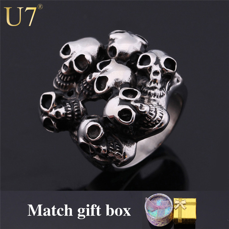 Skeleton Ring 2015 New 316L Stainless Steel Fashion Party Jewelry Wholesale Vintage Pirate Skulls Punk Band Ring For Men R346(China (Mainland))