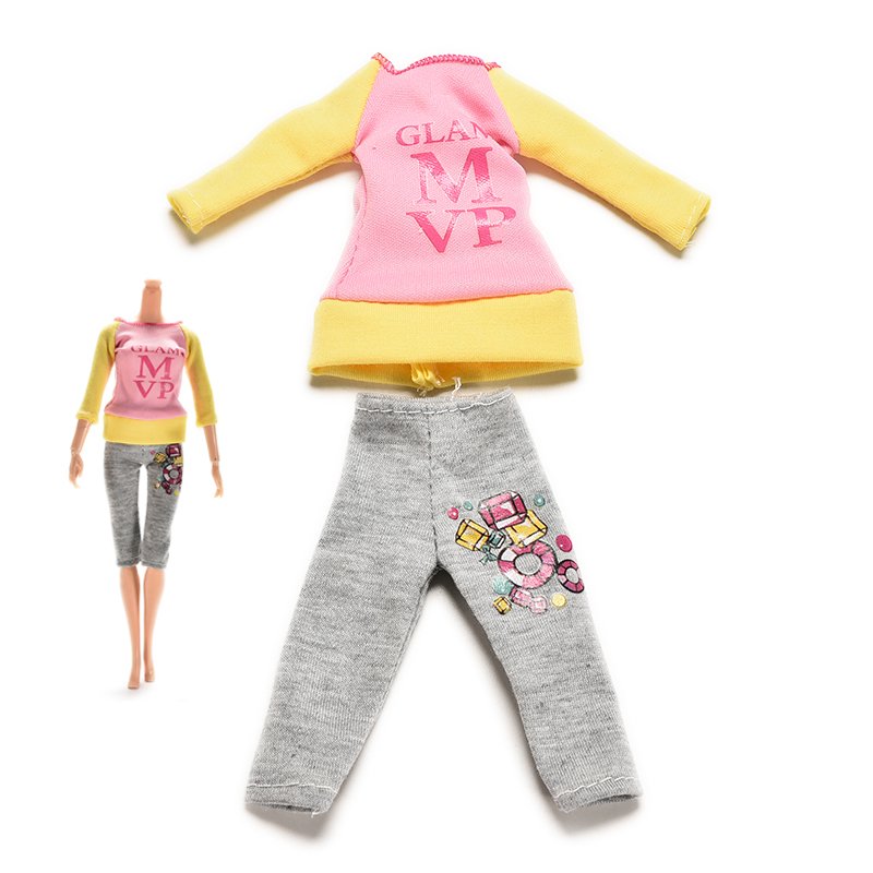 2 Pcs/set Fashion Casual Dolls Clothes Suit for Barbie Doll Spring Autumn Blouse Tops Trouser Pant Doll Accessories(China (Mainland))