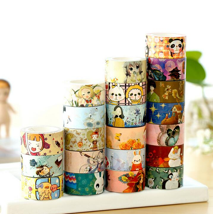 Japanese Style Cartoon Kraft Paper Washi Tape Adhesive Tape DIY Scrapbooking Sticker Label Masking Tape Crafts(China (Mainland))