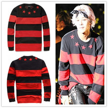 kpop Right Zhi-Long GD 2015 new Hoodies male bigbang sleeved striped Sweatshirts Hoody stars k-pop timati fashion sports - Poly Han excellent product store