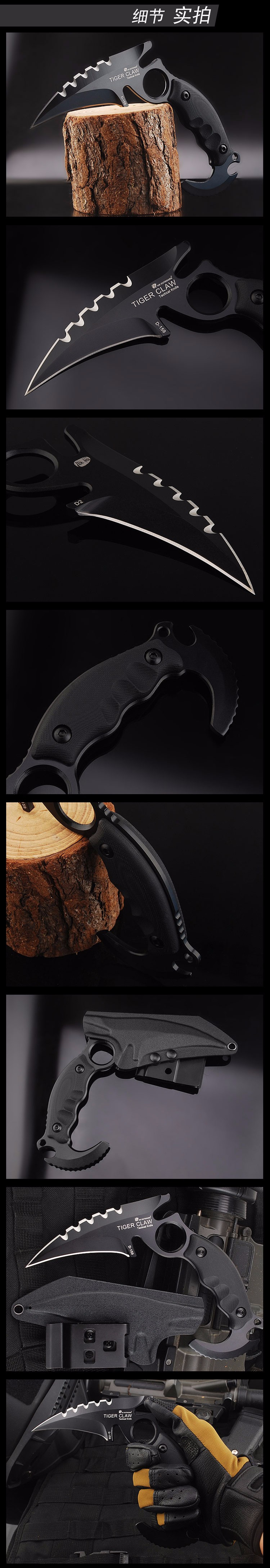 Buy HX Outdoors Tactical Karambit Knife Cs go Camping Survival Hunting Claw Knives EDC Multi Purpose Tools D2 Blade Huntsman defense cheap