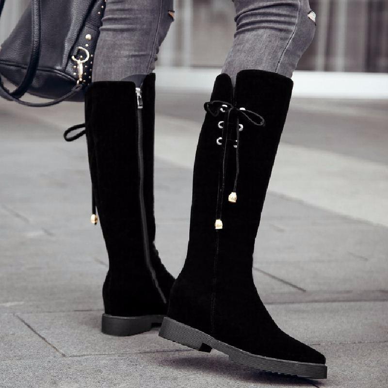 2016 Plus Size 34-43 Nubuck Knee Boots Women Knot Add Fur Autumn Winter Boots Hidden Wedges Platform Rubber Boots Shoes Woman