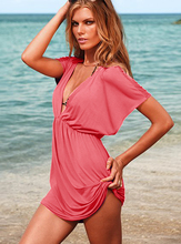 women Classic Swimsuit Cover-ups Tunic Flutter-sleeve Sexy deep V-neck Beach Dress elastic ice silk material Bikini dresses(China (Mainland))