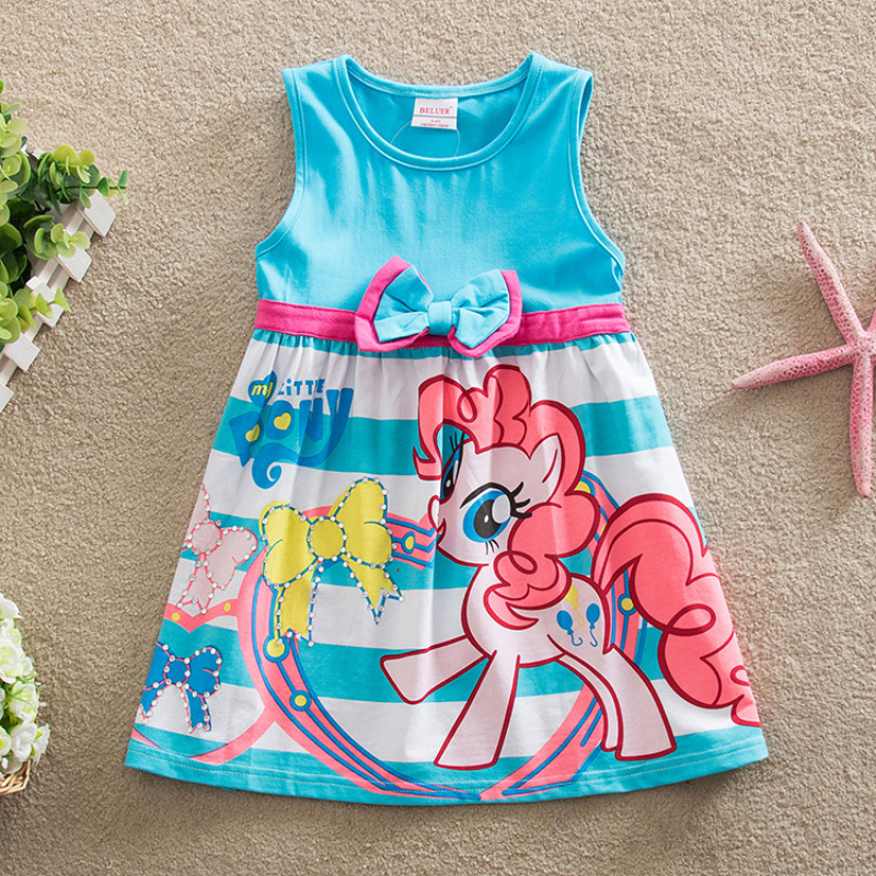New 2016 summer girl dress little pony printing color's navy baby girl dress children clothing children dress christmas gifts(China (Mainland))