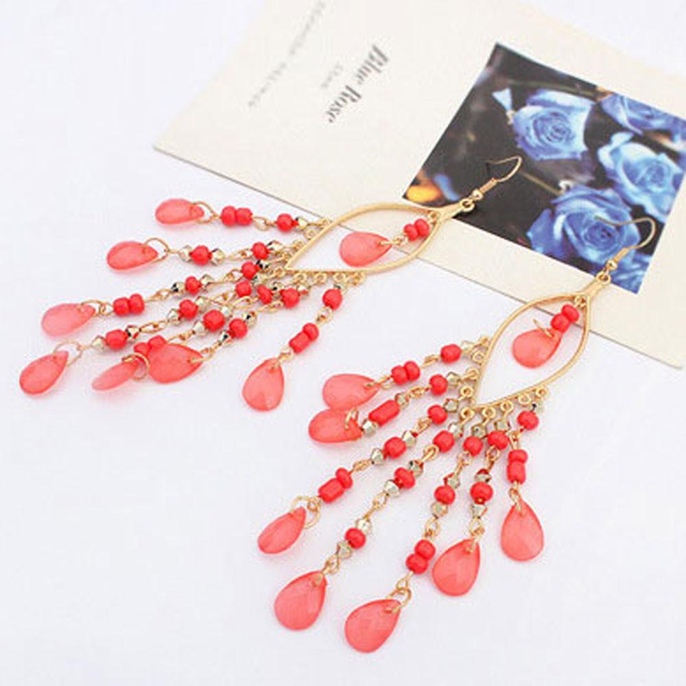CharmDemon 1Pair Women Hot Charm Bohemian Colorful Beads Ear Drops Dangle Tassels Earrings at26
