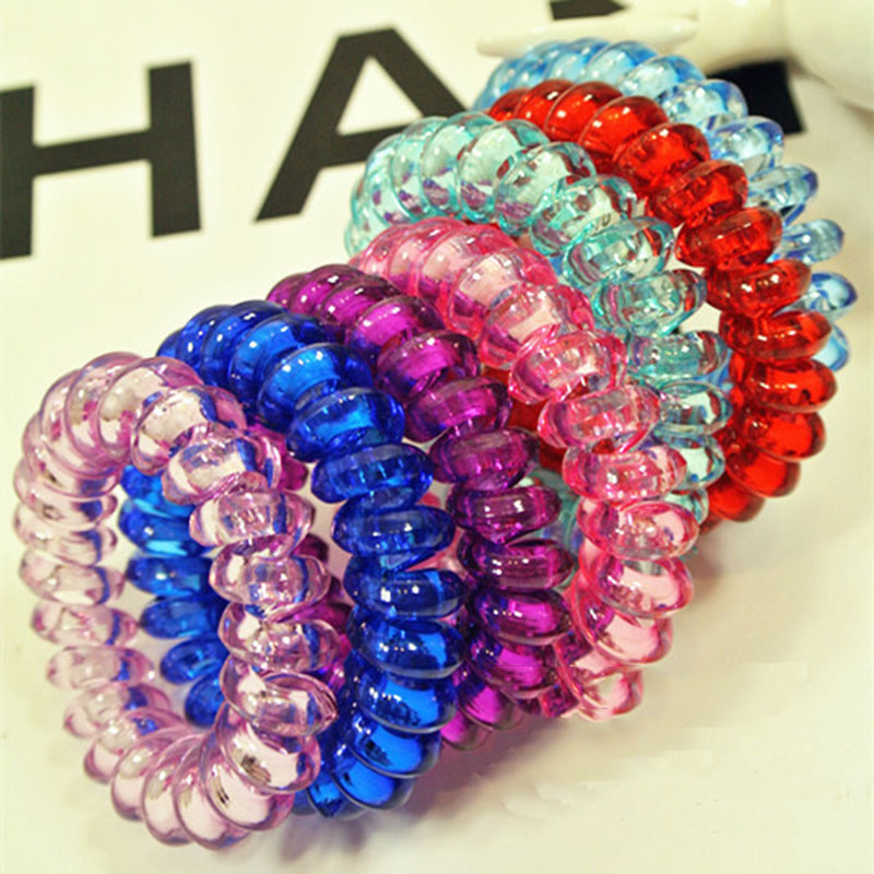 10Pc/Lot Telephone Line Elasticity Rubber Crystal Hair Accessory Women Headwears Elastic Hair Band for Girl Jewelry Springs Hair(China (Mainland))