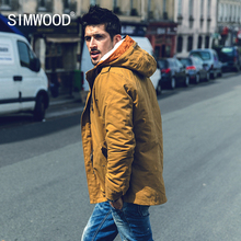 Simwood 2016 New Arrival Brand Casual Mens Fur Winter Coats Army Green Outwear Military Man Thick Cotton Jacket Men Parka