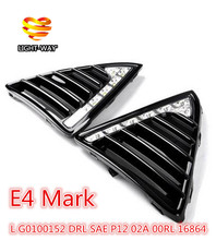 Gloss or Matt style E4 12V LED Car DRL daytime running lights fog lamp with turn off and dimming Relay for Ford Focus 3 2012(China (Mainland))