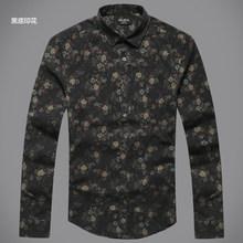 Мужская повседневная льняная рубашка, осенняя рубашка с длинным рукавом, винтажная приталенная рубашка с цветочным принтом, S2004(China)