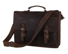 High Quality Vintage Brown Real Genuine Leather Men Leather Briefcase 14 inch Laptop Bag Men Messenger Bags #MD-J7223