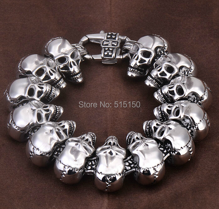 "8.66"" 24.3mm Width New Fashion Ghost chariot Men's Stainless Steel Bracelet motorcycle skull collection jewelry(China (Mainland))"