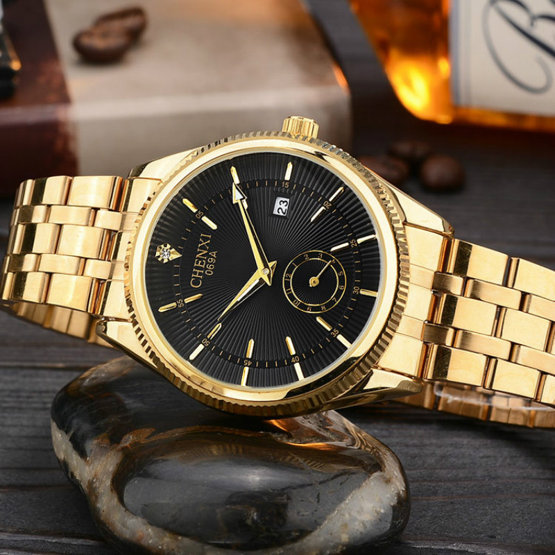 Top Fashion Brand Luxury CHENXI Watches Men Gold Quartz Watch Business Waterproof Male Wrist watches for Men Relogio Masculino(China (Mainland))