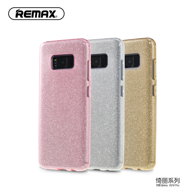 REMAX Original PC TPU Materia Protective sleeve Shiny Sequins Design Phone Case Cover for Samsung Galaxy S8 S8 Plus Cover Shell(China (Mainland))