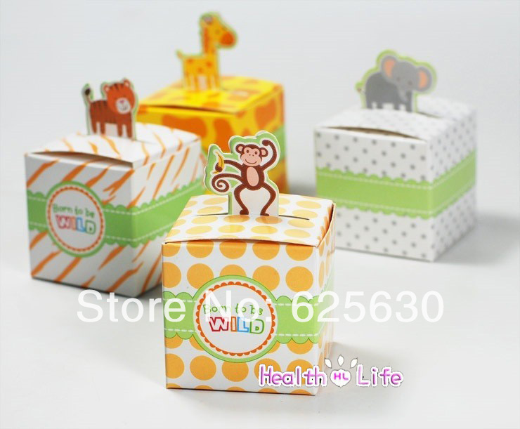 2015 Free Shipping 48pcs/lot baby shower favors Animals Candy Box For Child Birthday Party Gift wedding favors and gifts(China (Mainland))