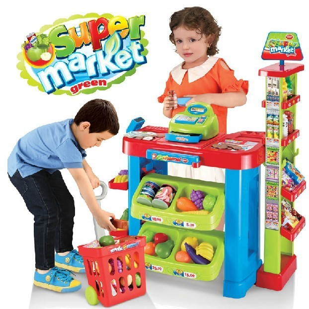 Free shipping child toy supermarket cash register toy stacking shelf artificial cash register belt scanner