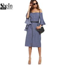 SheIn Ladies Dresses 2016 Summer Casual Blue Striped Split Ruffle Half Sleeve Off The Shoulder Knee Length Shirt Dress(China (Mainland))