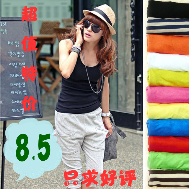 2013 summer female fashion all-match sleeveless elegant slim tank solid color stripe small vest