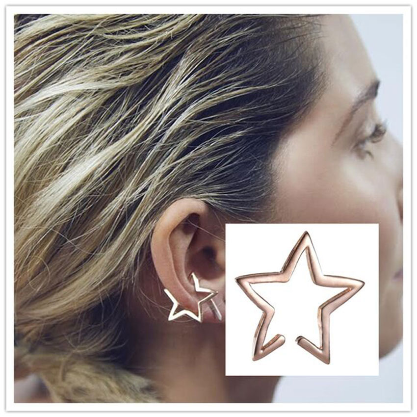 Гаджет  New Punk Fashion Ear Cuff Wrap Five Pointed Star Clip On Earring Non Piercing Free  Shipping None Ювелирные изделия и часы