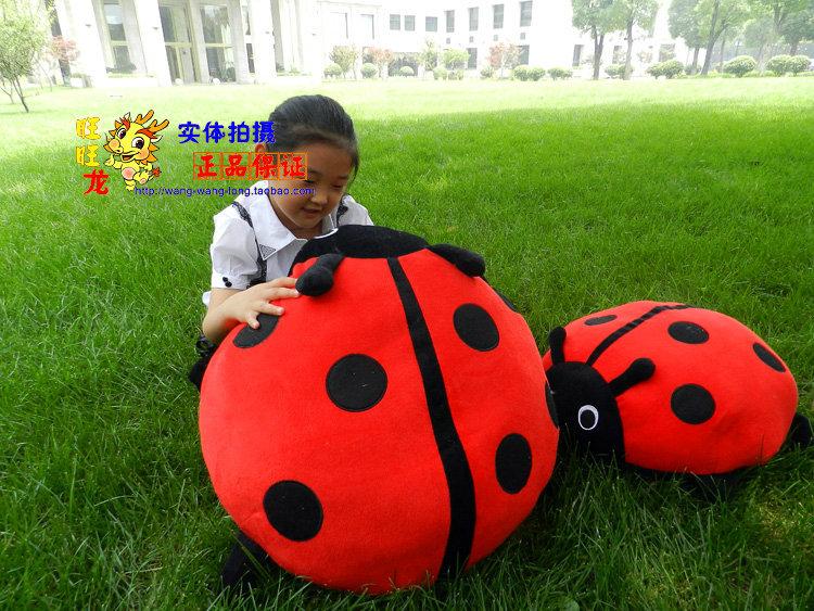 big Seven heart ladybug plush toys red andb black ladybug pillow doll gift toy about 50x70cm(China (Mainland))