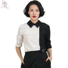 White Black Contrast Long Sleeve Turn Down Shirt Collared Casual Women Shirt Blouse 2016 Spring New Women Fashion(China (Mainland))