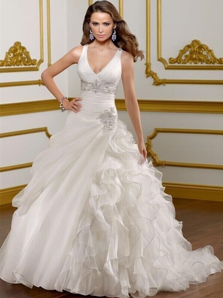 Wedding Dress 2015 Vestido De Noiva Curto Ball Gown V Neck Bridal Dresses Bac