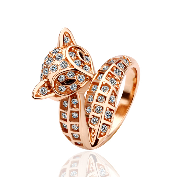 18K Real Rose Gold Plated Lovely Crystals Fox Rings wholesale Fashion Jewelry !