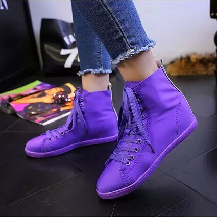 2015 women flats casual canvas single shoes autumn spring school solid purple yellow white pink fashion - Don't even think about it store