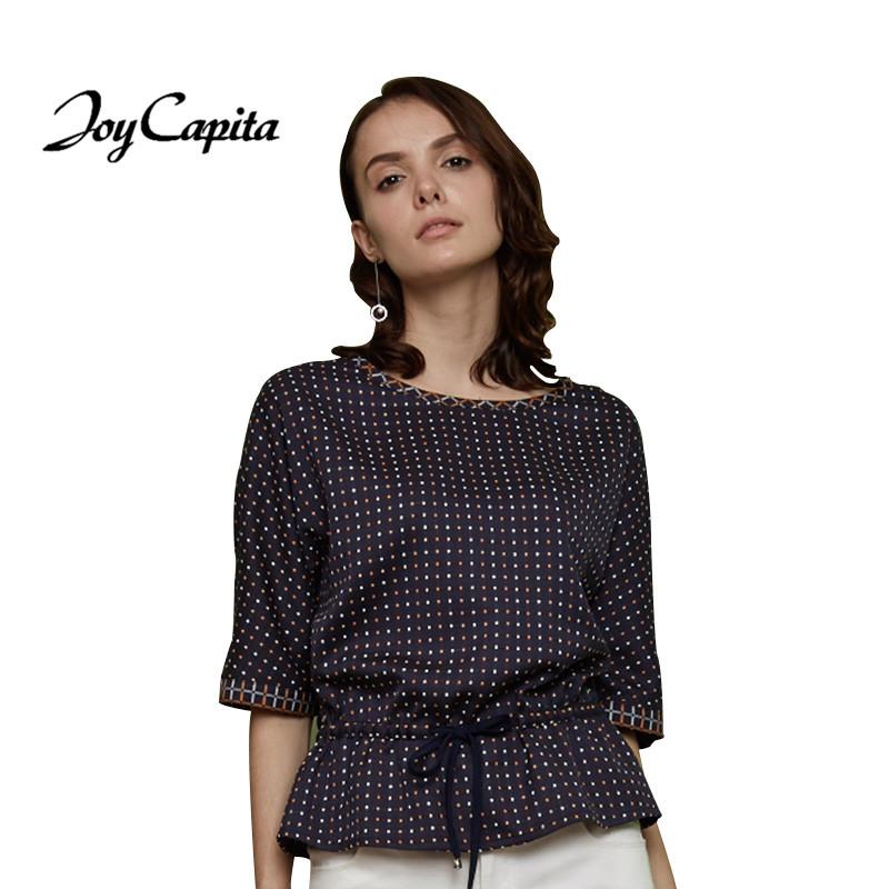 Joy Capita 2017 Spring Women plaid blouse Half Sleeve Round Collar Loose Shirts Fashion Streetwear Navy tops Tee Blusas Clothing(China (Mainland))