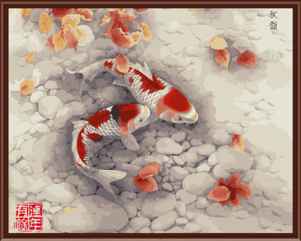 Frameless picture on wall Animal design Fish picture diy paint by numbers for lobby decoration 40X50cm(China (Mainland))