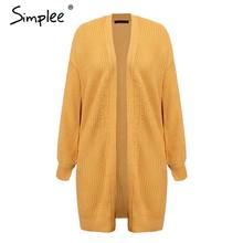 Женский кардиган Simplee с рукавом-фонариком, Свободный вязаный джемпер на каждый день, модный свитер на осень и зиму, 3 цвета(China)
