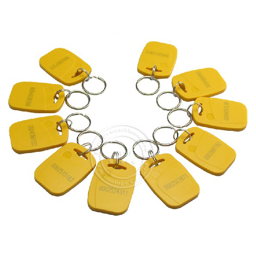 10Pcs/Lot RFID / ID / EM 4100 125Khz Proximity Token / Key Tag / Keyfobs / Keychain Card for Access Control System Yellow Color(China (Mainland))