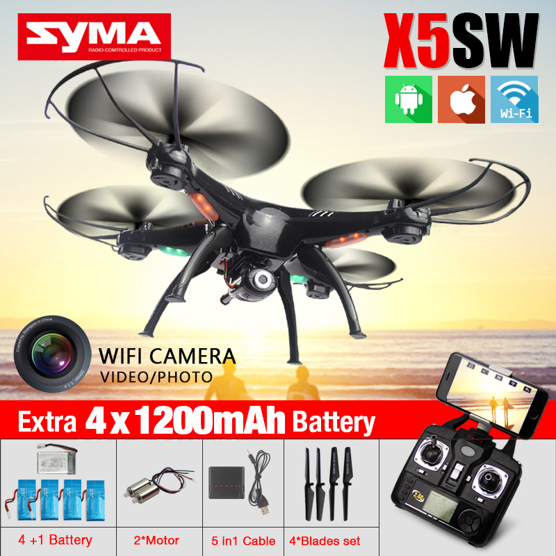 Hot Syma X5SW FPV RC Drone With WIFI Camera HD 2.4G 6-Axis Dron RTF RC Quadcopter Helicopter Drones VS JJRC H20 MJX 102H(China (Mainland))