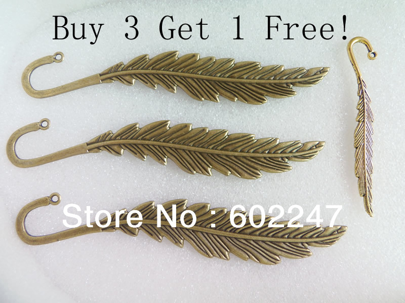 Free Shipping Zinc Metal Alloy Feather Charms Bookmarks 140mm Length Buy 3 get 1 free, Jewelry Book mark Wholesales(China (Mainland))