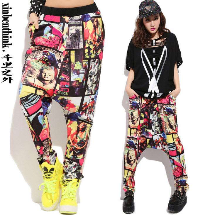 #2929 calle verano 2016 primavera danza Baggy trousers Hip hop pantalones Harajuku Tie dye danza Jogging pantalones para mujeres corredores deportes mujeres(China (Mainland))