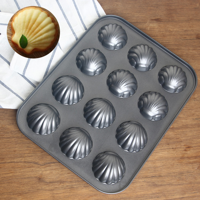 12 Cup of black high-quality carbon steel non-stick metal shell mold Madeleine cake mold kitchen baking pan(China (Mainland))