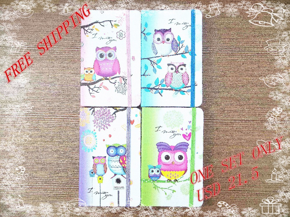New style Fashion Cute Charming Mini Portable owl hard cover Paper Diary Notebook school Memo Note Book notepad one set 4pcs(China (Mainland))