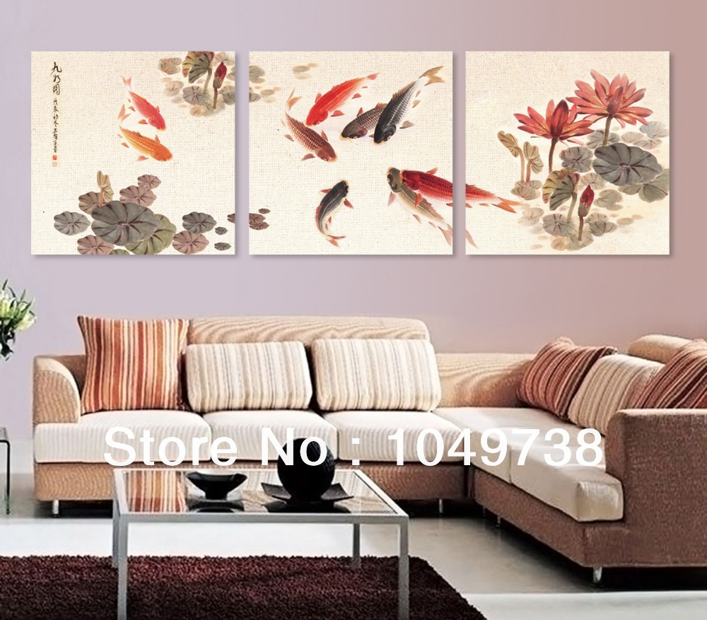free shipping canvas painting 3 piece canvas art koi fish. Black Bedroom Furniture Sets. Home Design Ideas